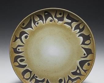 Large Handmade Dark Stoneware Platter with Abstract Glaze Design 15-040