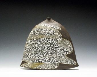 Handmade Dark Stoneware Flat Bottle Vase Vessel / Weed Pot 15-033