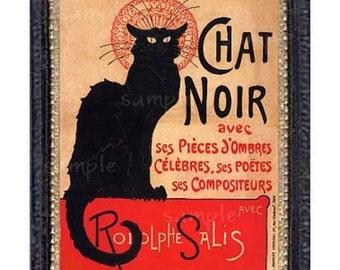 Black Cat Chat Noir Miniature Dollhouse Art Picture 1060