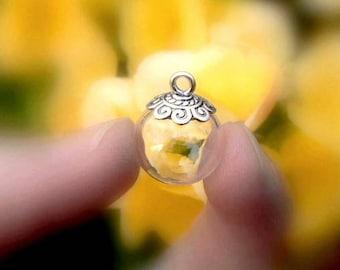 Glass Balls with Snowflake cap (small/empty/vials/pendants/bottles/miniature/ornaments/flower/Tibetan/silver/celtic/caps/Thai/hanging/clear)