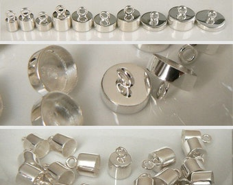 4/5/6/7/8/10/12mm STERLING Silver/Gold End/Pendant Caps (simple/solid/.925/small/crystal/bails/plain/shiny/lids/metal/with/loop/pure/vermeil
