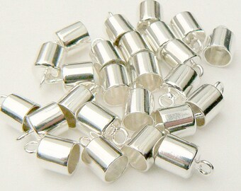 STERLING Silver End/Pendant Caps  5mm/6mm (simple/solid/.925/small/vials/plain/smooth/shiny/lids/covers/tops/round/metal/with/loop/pure)