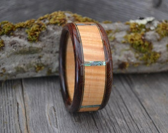 Wood/ Wooden Cuff Bracelet: Curly maple, Cocobolo, Abalone