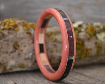 Wood/ Wooden Bracelet: Pink Ivory, Ebony, Purpleheart, Abalone