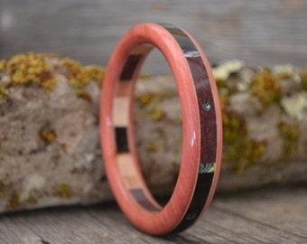 Wooden Bracelet: Pink Ivory, Ebony, Purpleheart, Abalone