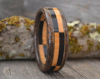 Wood/ Wooden Bracelet: Curly Maple, Ebony, Black Palm