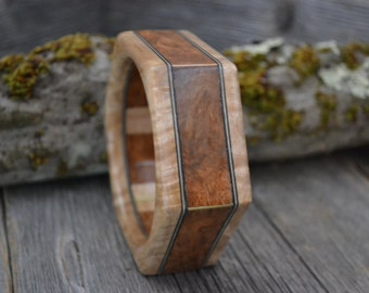 Wood/ Wooden Cuff Bracelet: Cherry Burl, Maple Burl