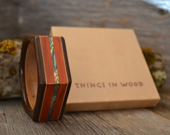 Wood/ Wooden Bracelet: Redheart, Maple, Wenge, Abalone