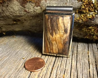 Wood/ Wooden Moneyclip: Spalted maple (Chromed Steel)
