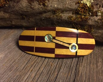 Wood/ Wooden Hair Barrette: Purpleheart & Yellowheart (Medium)