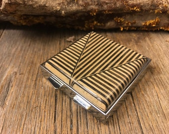 Wood/ Wooden Pill box: Geomtrically designed Ebony and Maple, 4 partitions, 1 compartment