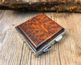Wood/ Wooden Pill box/ Keepsake container: AAAA Gallery Grade Surinam Snakewood, 4 partitions, 1 compartment