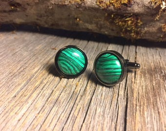 French Cufflinks: Malachite, 16mm. round