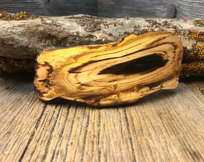 Featured listing image: Wood/ Wooden Barrette/ Hairclip: AAAAA Gallery Grade Black Heart Sassafras (medium)