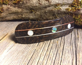 Wood/ Wooden Hair Barrette: Black Palm (Large)