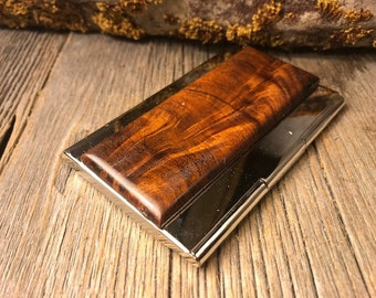 Wood/ Wooden Credit Card/Business Card case/ holder: AAAAA Gallery grade Antique Mahogany Crotch , Roosterplume