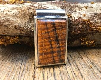 Wooden Money clip: AAAAA Gallery Grade Curly Koa ( Chromed Steel)