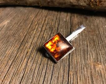Tie Clip: Baltic Amber 20 mm, square