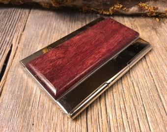 Wood/ Wooden Business Card/ Credit Card Case/ Holder: Gallery grade AAAAA Purple Heart