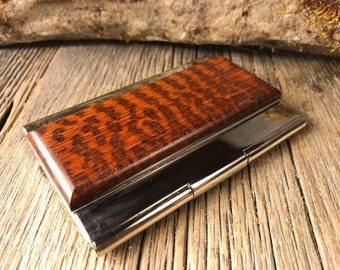 Wood/ Wooden Business Card/ Credit Card Case/ Holder: Gallery grade AAAAA Snakewood