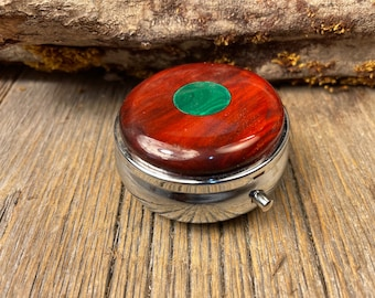 Wood/ Wooden Pill box, keepsake case: Bloodwood, 3 Compartments, 1 Compartment