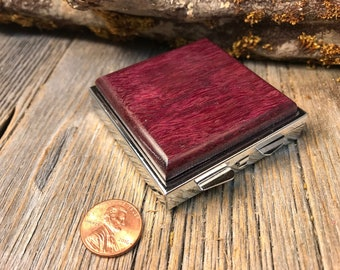 Wood/ Wooden Pill box/ Keepsake container; Gallery Grade Purple heart, 4 partitions, 1 compartment