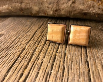 Wood/ Wooden French Cufflink: AAAA Gallery Grade Curly Maple, square, 16/18mm