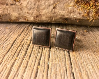 Wooden French Cufflinks: Ebony, 16/18 mm, square