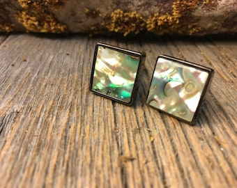 Frenchh Cufflinks: Green Paua Abalone, 16/18mm , square