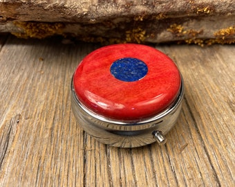 Wood/ Wooden Pill box, Keepske case: African Pink Ivory, 3 Compartments, 1 Compartment