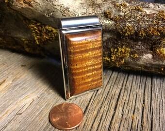 Wooden Money clip: Curly Koa ( Chromed Steel)