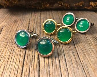 French cufflink: AAAAA Green Jade, 15 mm, round