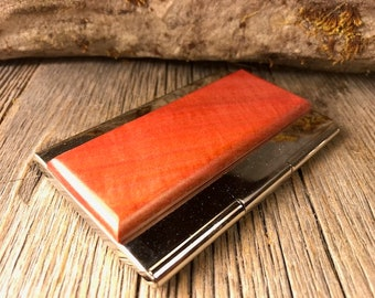 Wood/ Wooden Business Card/ Credit Card Case/ Holder: Gallery grade AAAAA Pink Ivory