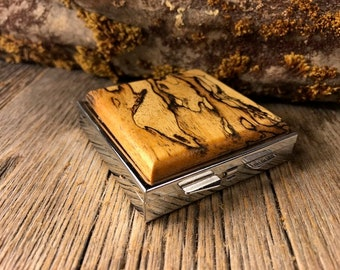 Wood/Wooden Pill box/ Keepsake container/ Make up container/ 4day/ 4 compartment: AAAA Spalted Tamarind