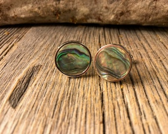 French Cufflinks: Abalone, 16 mm, round