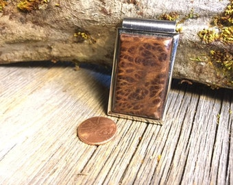 Wood/ Wooden Money Clip: Redwood Lace Burl (Chromed Steel)