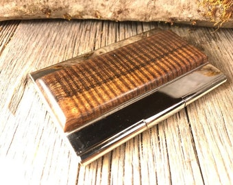 Wood/ Wooden Business Card / Credit Card Case/ Holder: Gallery grade AAAAA Old Growth Hawaiian Curly Koa wood