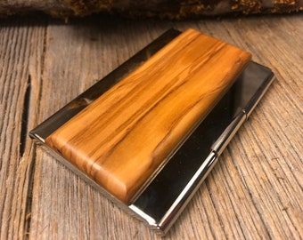 Wood/Wooden Business Card/ Credit Card case/ Holder: AAAA Gallery grade Palastine Olive wood