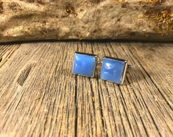 French Cufflinks: Blue Jade , 14/17 mm,square