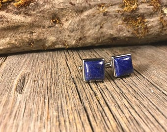 French Cufflink: Lapis Lazuli, 14/17mm, square