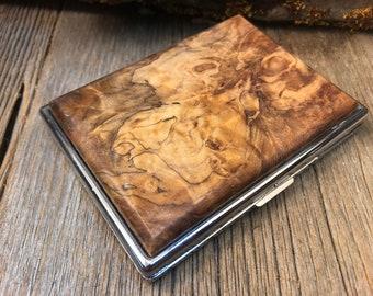 Wood/ Wooden ,Business/ Credit card,Wallet, Cigarette Case: AAAAA Gallery grade Spalted Big leaf Maple  Burl