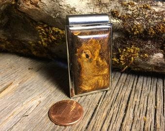Wooden Money clip : Black Oak Burl ( Chromed Steel)