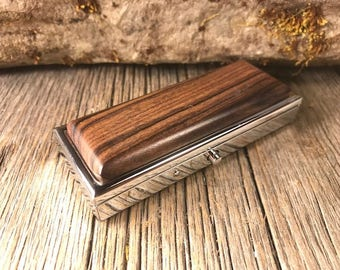 Wood/ Wooden Pill box/ Keepsake container/ Make up container/ 2 day/ 2 compartment: Rosewood