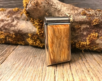 Wood/ Wooden Money clip: Spalted Maple (Chromed Steel)