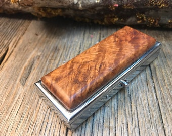 Wood/ Wooden Pill box/ Keepsake container/ Makeup container: Madrone Burl, 2 partitions, 1 compartment