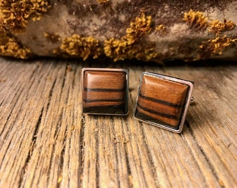 Wood/ Wooden French Cufflink: Rio Palisander, Brazilian Rosewood, Square 16/18 mm