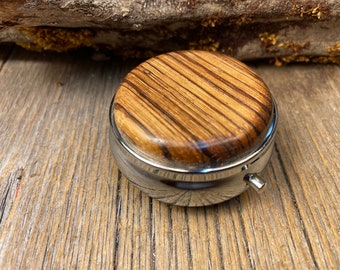 Wood/ Wooden Pill box/ case: Zebra Wood, 3 Compartments, 1 Compartment