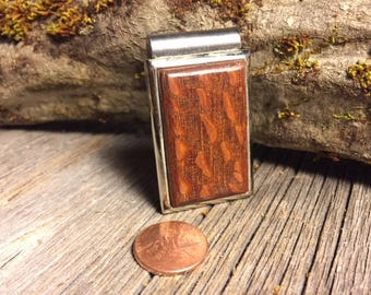 Wood/ Wooden Money clip: Lace wood (Chromed Steel)