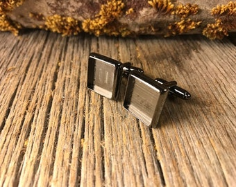 French Cufflink Blanks, Gunmetal black, one pair, Bezel/ Tray set, square 14/16mm
