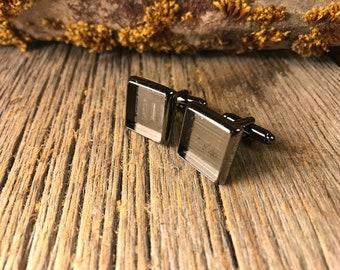 French Cufflink Blanks, Gunmetal black, one pair, Bezel/ Tray set, square 14/16mm